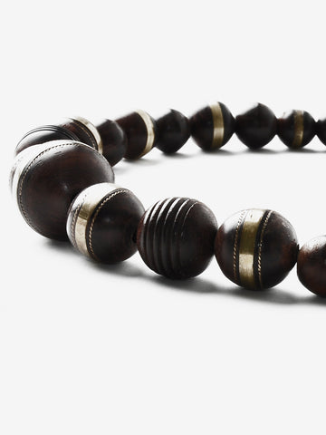 Vintage Carved Wooden Brass Inlay Necklace