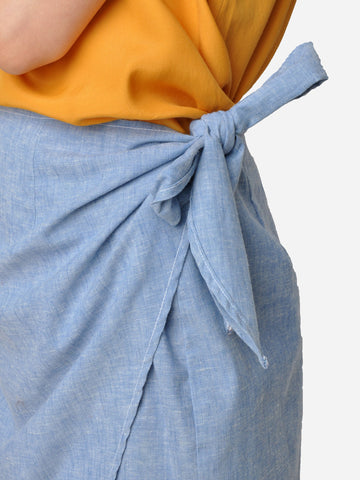 Chambray Denim Mini Wrap Skirt