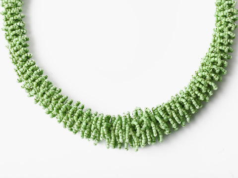 Vintage Beaded Lime Green Statement Necklace