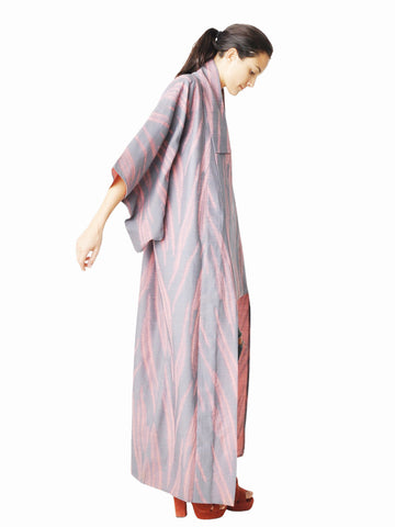 Vintage Pink and Gray Urushi Full Length Kimono