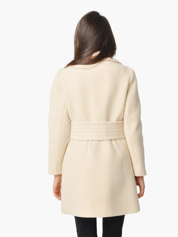 Vintage Cream Wool Belted Coat