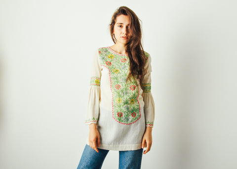 Vintage Embroidered Top with Fluted Sleeves