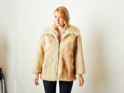 Vintage Cream Shearling Coat