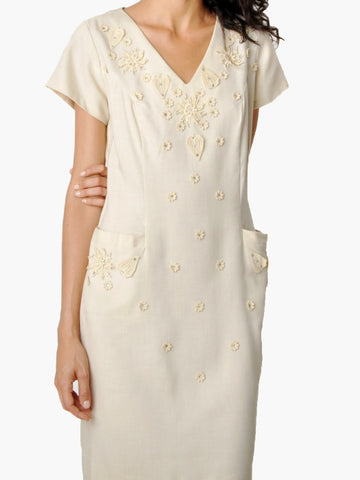 Vintage Embellished Creme Dress