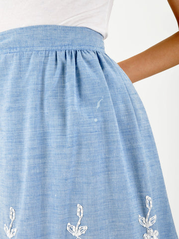 Vintage Chambray Embroidered Skirt