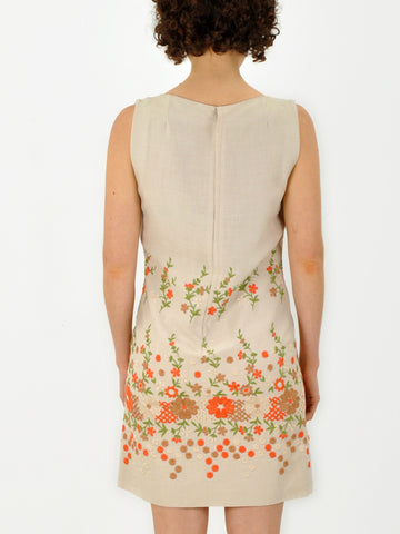 Vintage 60s Floral Embroidered Tan Dress