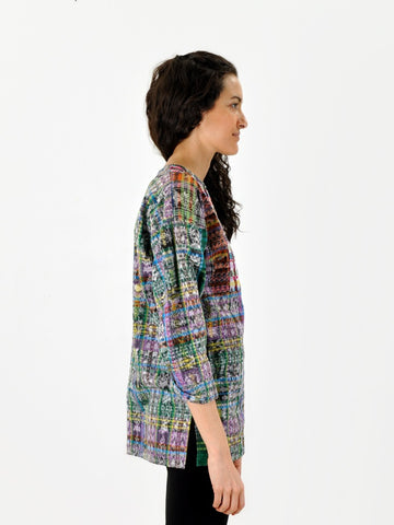 Vintage Neon Embroidered Ikat Top