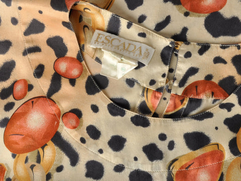 Vintage Escada Animal and Jewelry Print Silk Blouse