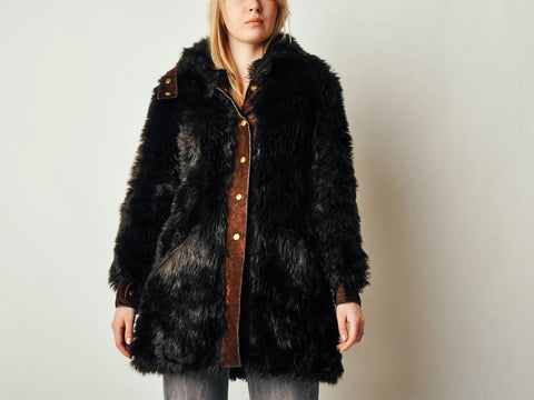 Vintage French Faux Fur Coat