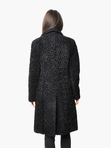 Vintage Black Astrakhan Faux Fur Coat