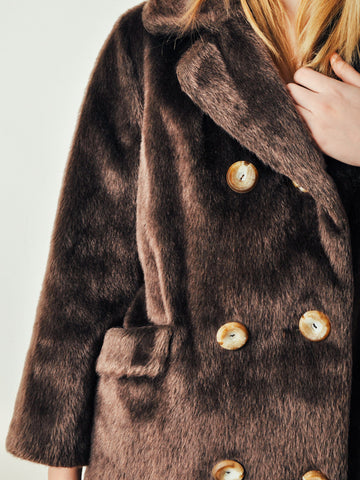 Vintage Brown Faux Fur Car Coat