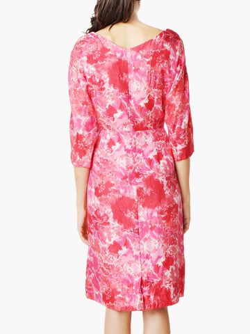 Vintage Red Abstract Floral Print Dress