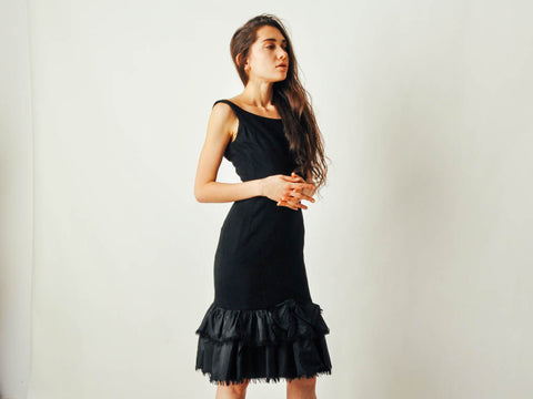 Vintage Black Marion Wolf Fishtail Dress