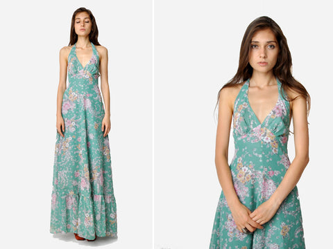 Vintage Teal Floral Halter Maxi Dress