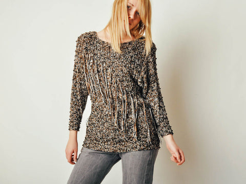 Vintage Embellished Fringe Sweater