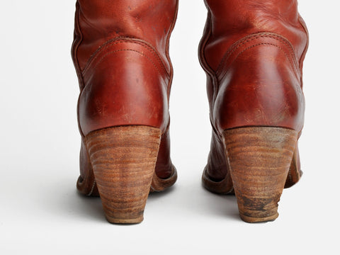 Vintage Frye Cognac Brown Pull Up Boots
