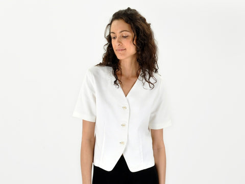 Vintage Cotton Pique Button Down Gallant Blouse