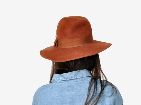 Vintage Burnt Sienna Feathered Fedora