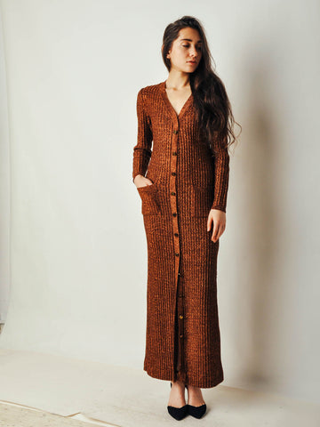 Vintage Brown Ribbed Sweater Dress