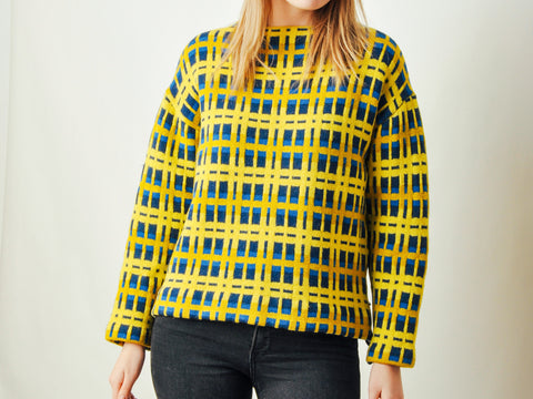 Vintage Yellow & Blue Graphic Sweater