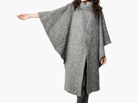 Vintage Black & Gray Tweed Cape
