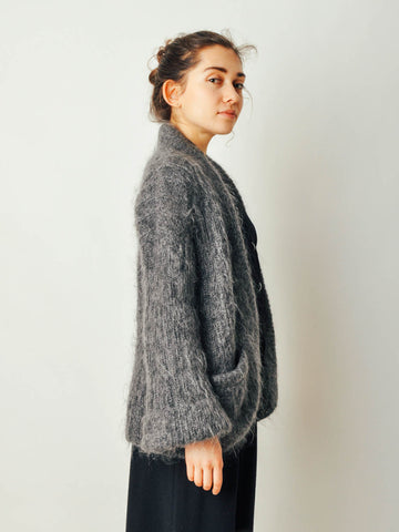 Vintage Gray Mohair Sweater Coat