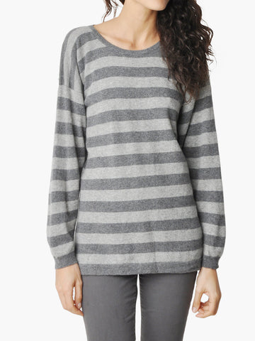 Vintage Gray Striped Cashmere Sweater