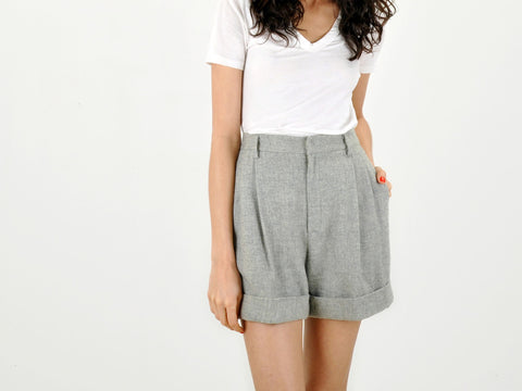 Vintage Gray Wool Pleated Shorts