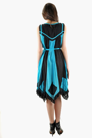 Vintage Black and Turquoise Color Blocked Dress