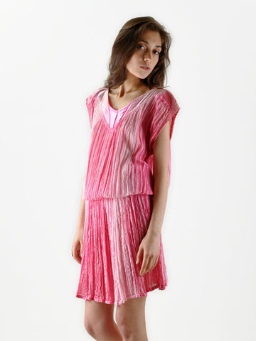 Vintage Grecian Pink Ombre Gauze Dress