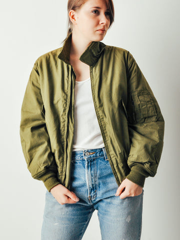 Vintage Army Green Bomber Jacket
