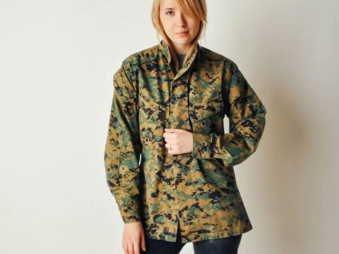 Vintage Digital Camo Military Jacket