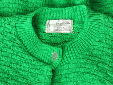 Vintage Green Woven Knit Cardigan