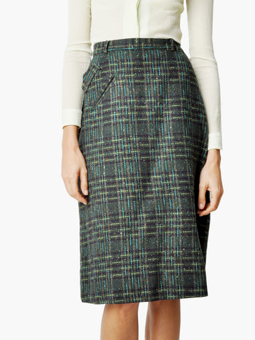 Vintage Green Plaid Skirt with Pocket