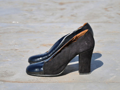 Vintage Italian Two Tone Scalloped Heels