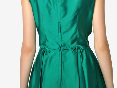 Vintage John Norman Green Silk Bow Dress