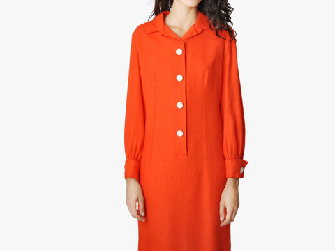 Vintage Tangerine Linen Button Down Dress