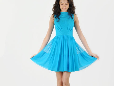 Vintage 1960s Jr. Theme Cerulean Blue Dress