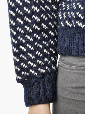 Vintage L. L. Bean Navy and White Norwegian Sweater