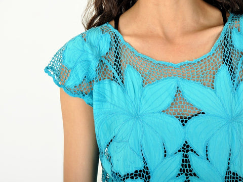 Vintage Turquoise Cutwork Lace Top