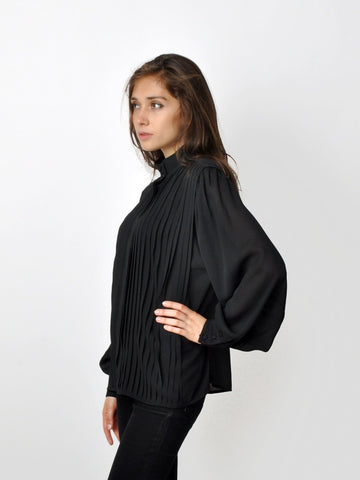 Vintage Black Pleated Blouse
