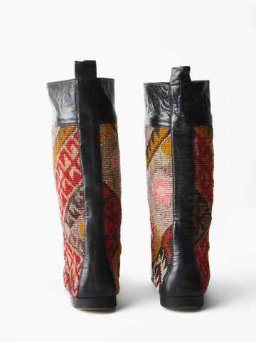 Vintage Southwestern Black Leather and Kilim Boots