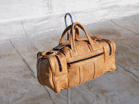 Vintage Leather Duffle Carryall Bag