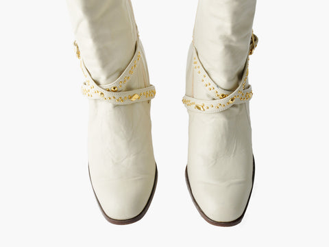 Vintage White Gold Studded Ankle Boots