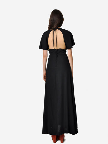Black Open Back Halter Maxi Dress