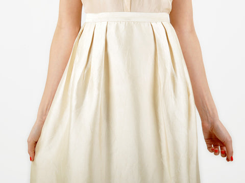 Vintage Long Ivory Silk Skirt