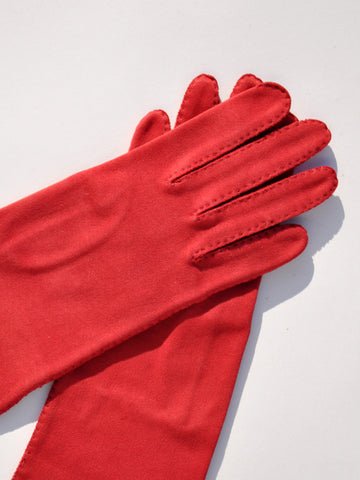 Vintage Deep Red Long Gloves