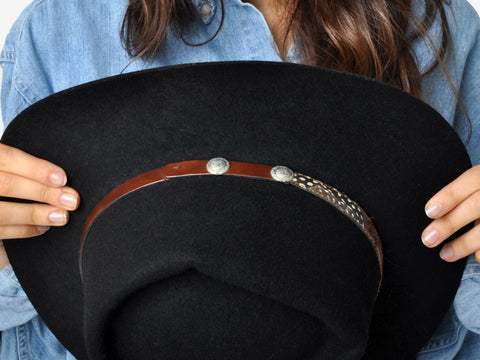 Vintage Black Broner Stetson Hat With Brown Leather Band