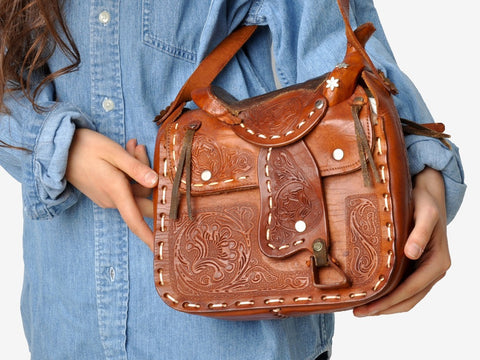 Vintage Brown Tooled Leather Saddle Bag