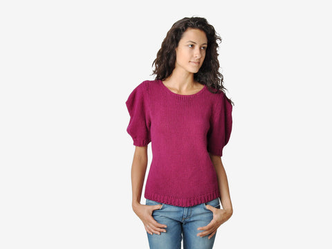 Vintage Magenta Knit Top With Pointed Shoulders